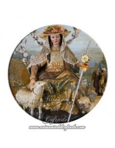 Imán redondo plastico de la Divina Pastora de Cantillana