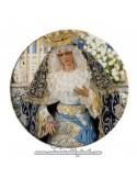 Imán redondo plastico de la virgen de la Hiniesta de Sevilla