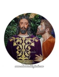 Imán redondo plastico del Cristo del Beso de Judas (Sevilla)