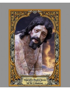 Azulejo rectangular de Nuestro Padre Jesús en la Columna de Priego (Córdoba)