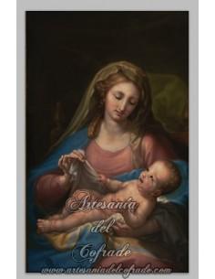 Espectacular azulejo rectangular de la Virgen con el niño Jesús.