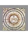 Azulejo cuadrado de la abreviatura JHS (Jesús Hombre Salvador)