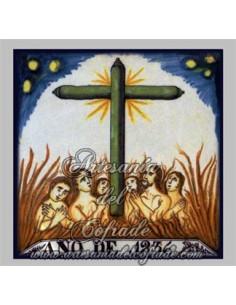 Azulejo cuadrado de las Ánimas Benditas del Purgatorio
