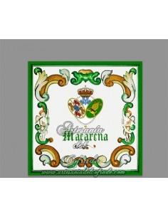 Azulejo cuadrado del escudo de la Hermandad de la Esperanza Macarena