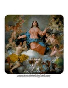 Imán cuadrado plastico de la Asunción de la Virgen