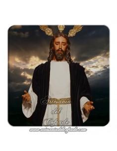 Imán cuadrado plastico del Cristo del Beso de Judas con cielo de fondo (Sevilla)