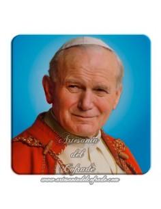 Imán cuadrado de  plastico del Papa Juan Pablo II