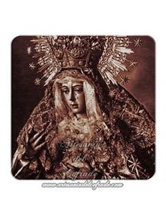 Imán cuadrado de  plastico de fotografía antigua de  la Virgen  Esperanza Macarena de Sevilla