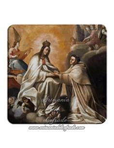 Imán cuadrado de  plastico de la Virgen de la Merced y Santo