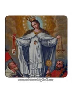 Imán cuadrado de  plastico de la Virgen de la Merced