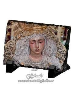 Pizarra rectangular con la virgen de la Esperanza de la Trinida de Sevilla