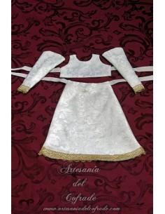Saya de damasco blanco con el filo dorado para Virgen de 40 ctm.