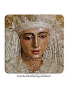 Imán cuadrado de plastico de la Virgen de la Esperanza de Triana