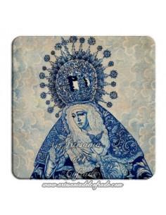 Imán cuadrado de plastico de una pintura de  la Virgen de la Esperanza de Triana