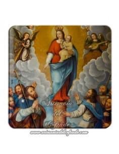 Imán cuadrado plastico de la Virgen del Pilar.