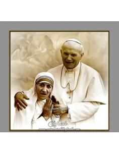 Azulejo cuadrado del Papa Juan Pablo II y Santa Teresa de Calcuta