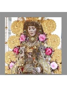Azulejo cuadrado con la Virgen del Rocio vestida de reina