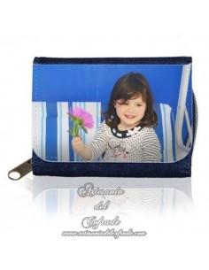 Monedero vaquero Azul Marino para personalizar con tu fotografía