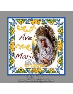 Azulejo cuadrado Ave maría con la Esperanza Macarena
