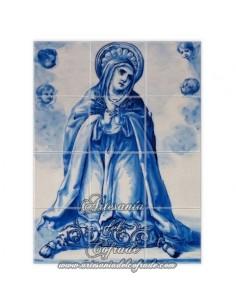 Se vende retablo cerámico de 12 azulejos con dolorosa azul cobalto