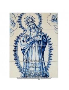 Retablo de 12 azulejos con virgen y niño jesús