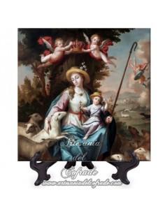 Azulejo cuadrado con la Divina Virgen Pastora