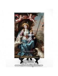 Azulejo rectangular de la Virgen Divina Pastora