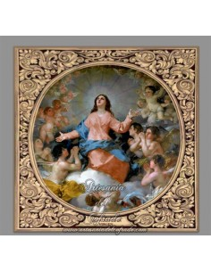 Azulejo cuadrado de la Asunción de la Virgen con greca