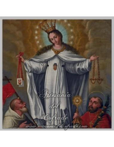 Azulejo virgen de la Merced con santo.