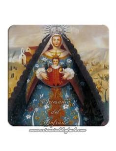 Bonito Imán cuadrado de  plastico de la Virgen del Rocio.
