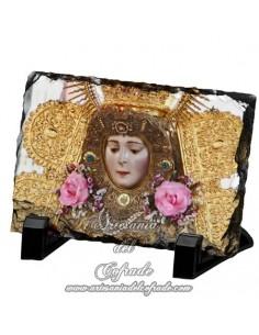 Pizarra rectangular del rostro de la Virgen del Rocio