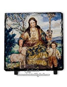 Bonita Pizarra 10x10 con la Divina Pastora de Cantillana