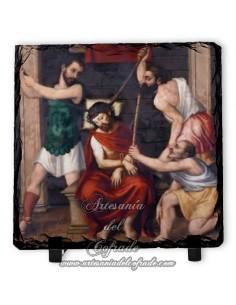 Pizarra cuadrada con escena de la Coronación de Espinas