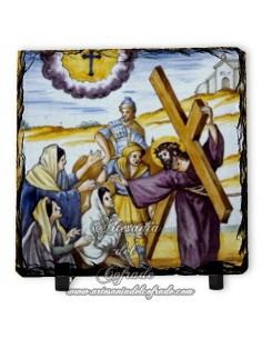 Pizarra cuadrada con escena de la Pasión de Cristo
