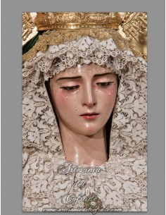 Azulejo rectangular de la Virgen de Gracia y Esperanza de Sevilla