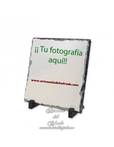 Portafotos de piedra cuadrado para personalizar con tu fotografía