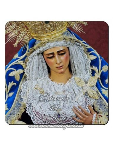 Imán cuadrado de  plastico de la Virgen de las Angustias  (Los Gitanos,Sevilla)