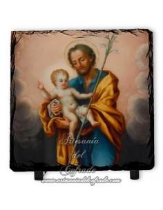 Pizarra cuadrada de San Jose y el Niño Jesús
