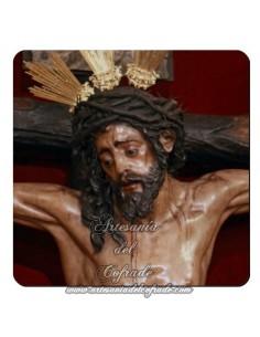 Imán cuadrado de  plastico del Cristo de la Conversión (Montserrat,Sevilla)