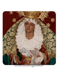 Imán cuadrado de  plastico de la Virgen de la Esperanza de Malaga