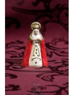 Figura de Virgen Dolorosa de 8 ctm con manto rojo