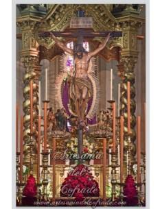 Azulejo rectangular del Cristo de las Almas de la Cofradía de los Javieres de Sevilla
