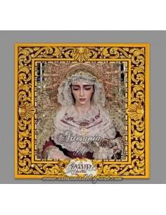 Azulejo cuadrado con greca de la Virgen de la Salud de Sevilla
