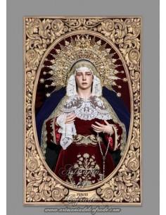 Azulejo rectangular de la Virgen de las Penas (Santa Marta) de Sevilla