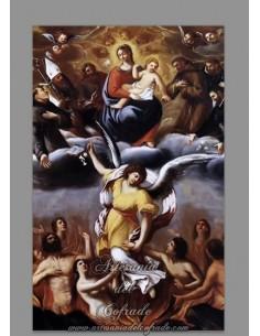 Se vende azulejo rectangular con motivos de las Ánimas del Purgatorio - Tienda de azulejos religiosos