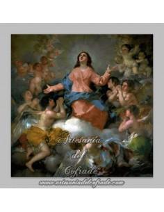 Azulejo cuadrado con la Asunción de la VIrgen Maria