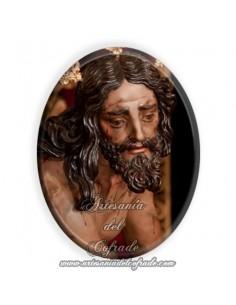 Azulejo ovalado 6x8 ctm del Cristo de las Cigarreras de Sevilla