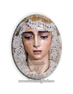 Azulejo ovalado 6x8 ctm de la Virgen de la Salud de Sevilla