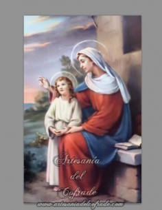 Se vende esta cerámica rectangular de la Virgen Maria con el niño Jesús - Tienda Online