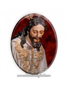 Azulejo ovalado 6x8 ctm del Cristo del Desprecio de Herodes de Sevilla